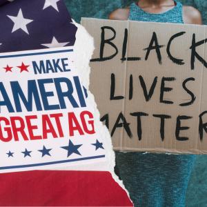Maga and Black Lives Matter slogans