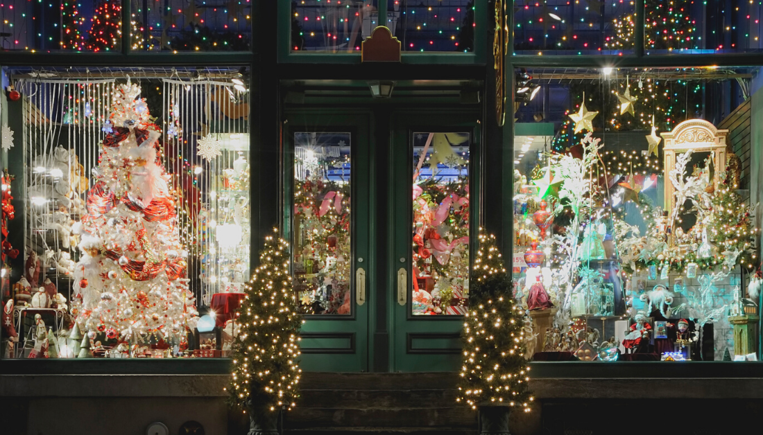 Christmas decorations outside a store