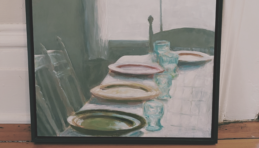 picture of a painting of chairs gathered around a table set for a meal