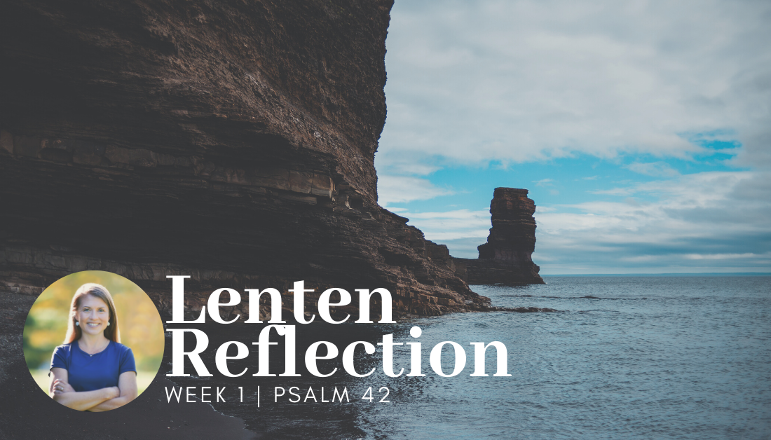 Lenten devotional picture of a cliff next to a body of water