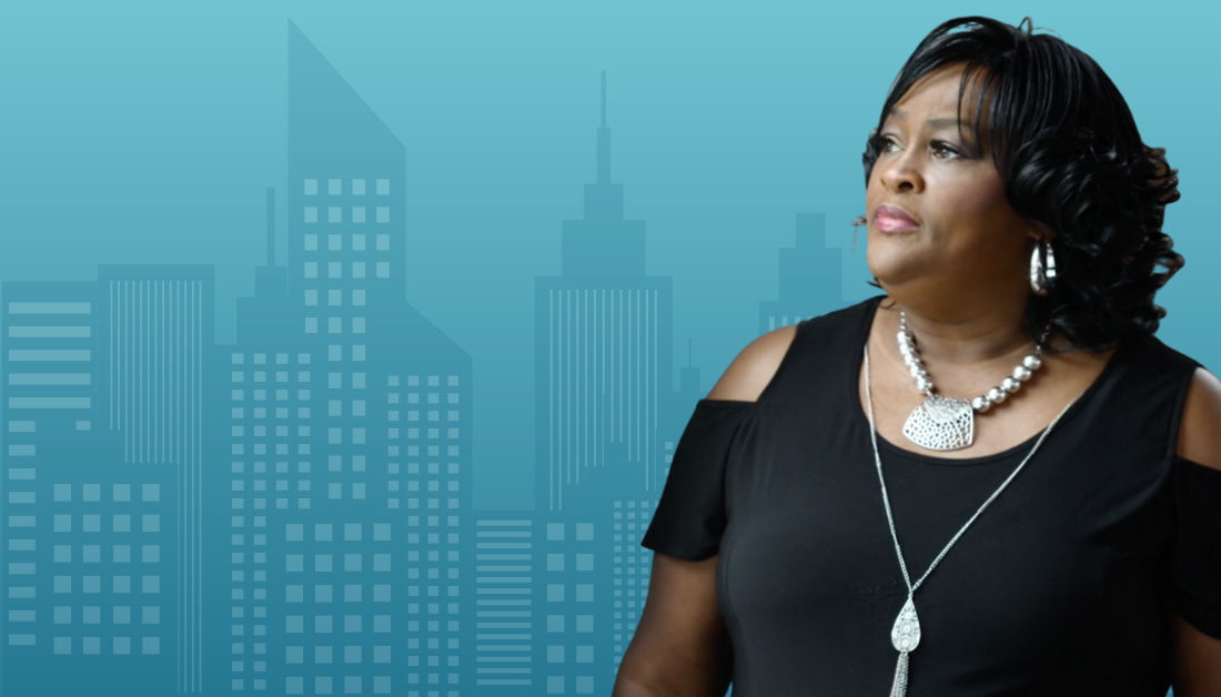 graphic with blue gradient background and blue cityscape, with a picture of Dorris Walker-Taylor
