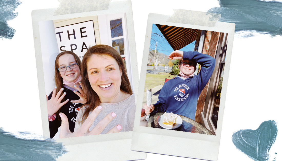 image that looks like a scrapbook page with white background and blue accents with two pictures: one of Amy Julia and Marilee getting their nails done at a spa and one with Marilee shielding her eyes from the sun