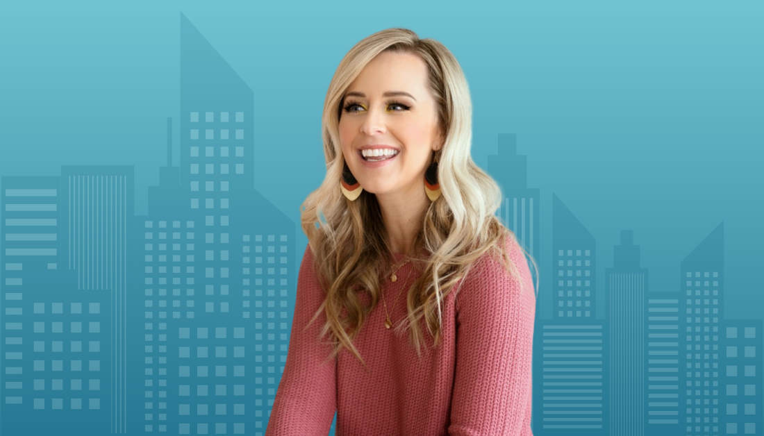 gradient blue graphic with a blue cityscape and a picture of Briana Stensrud from Women of Welcome