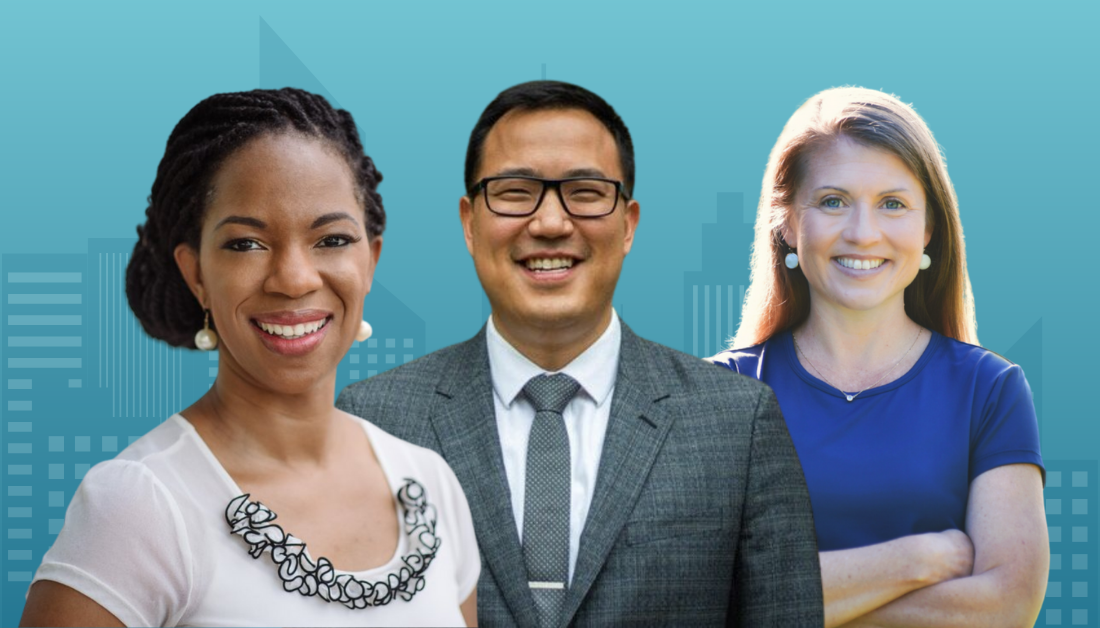 podcast graphic with blue gradient background and cityscape with an overlay of pictures of Natasha Sistrunk Robinson, Raymon Chang, and Amy Julia Becker