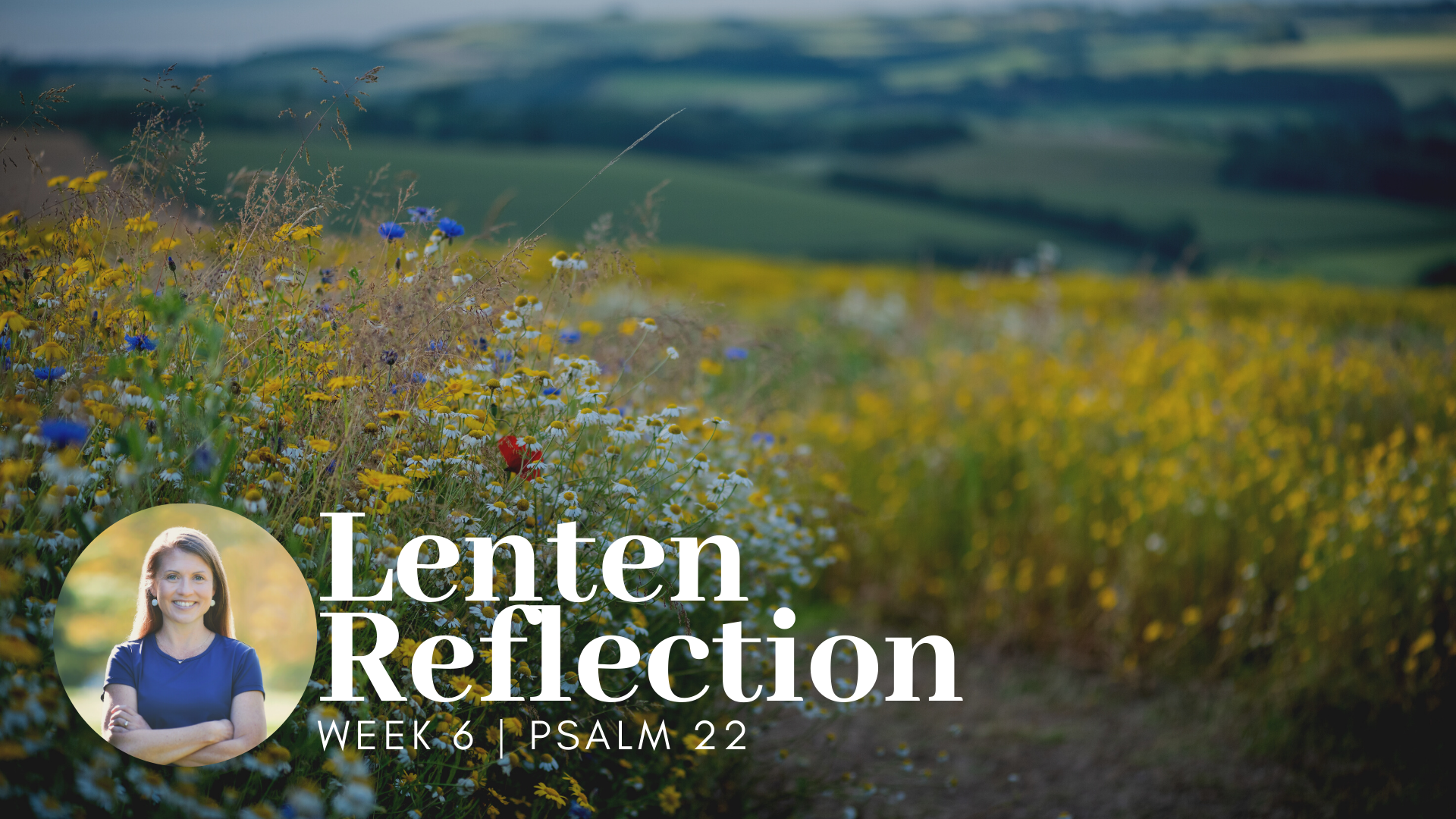 picture of path through mountain flowers; has white text overlay that says Lenten Reflection Week 6 Psalm 22