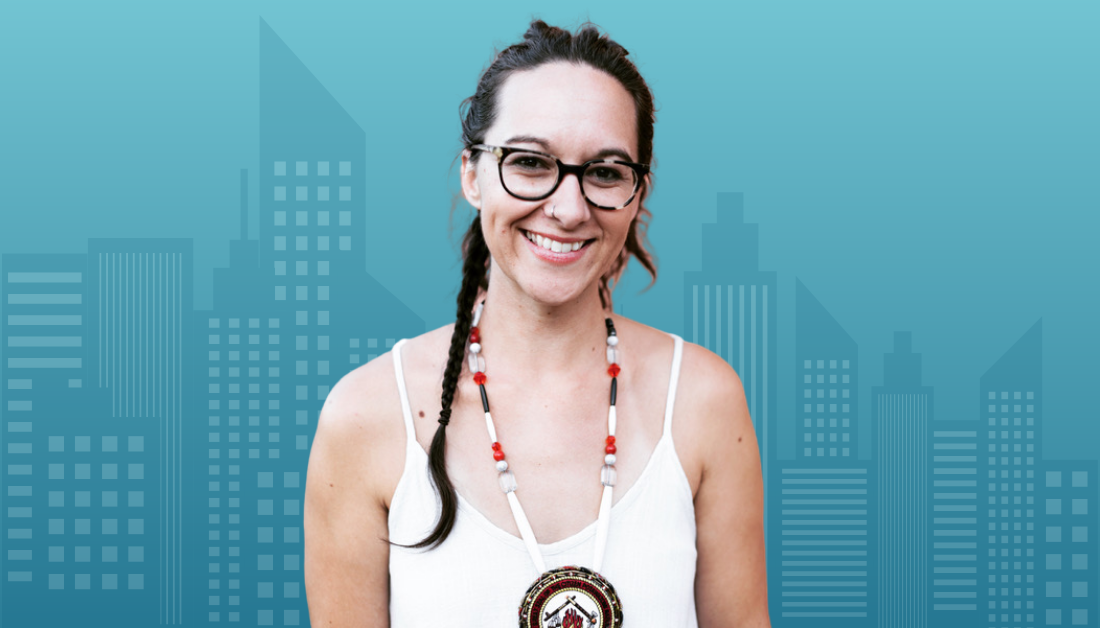 Kaitlin Curtis talking podcast with Amy Julia about being a Potawatomi woman and racial and religious identity