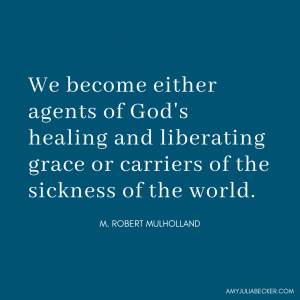 blue graphic with text about agents of healing from Mulholland quote in post