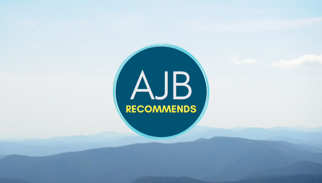 blue mountain landscape with AJB recommends logo