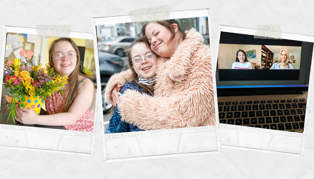 scrapbook graphic with pictures of Penny hugging bouquet of flowers, Penny and a friend giving each other a hug, and computer screen showing an online interview between Amy Julia and Bonnie O'Neil