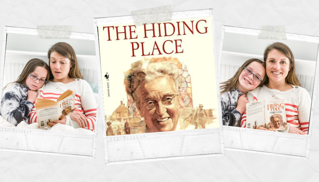 scrapbook graphic with two pictures of Amy Julia reading The Hiding Place to Marilee and a picture of The Hiding Place book