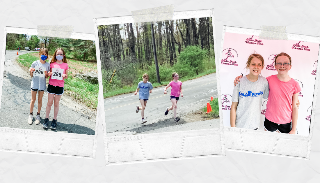 pictures of Marilee and a friend running a 5k for Girls Just Wanna Run