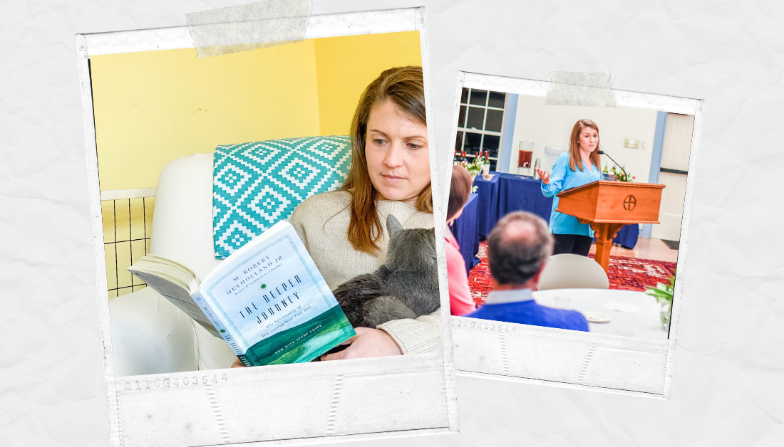 scrapbook graphic with pictures of Amy Julia sitting in a chair reading a book and holding a gray kitty and a picture of her standing at a podium speaking