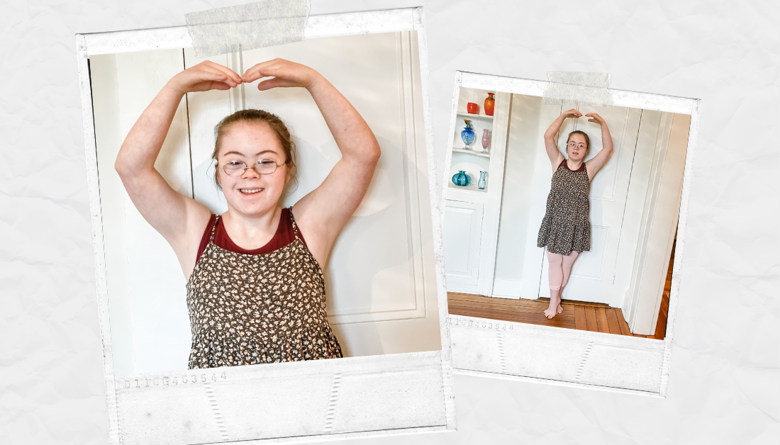 scrapbook graphic with pictures of Penny, who has an intellectual disability, smiling at the camera and doing a ballet pose