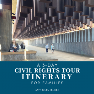 picture of Amy Julia and children on their Civil Rights Tour