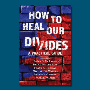 blue graphic with picture of the book How to Heal Our Divides