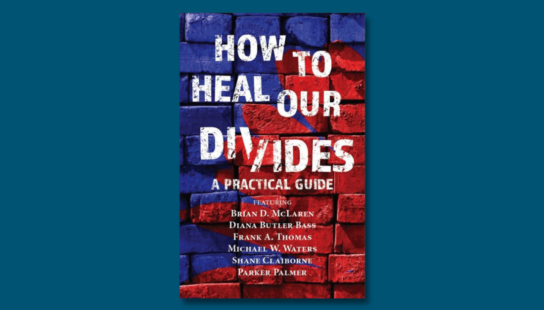 dark blue graphic with a picture the practical guide How to Heal Our Divides