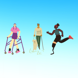 gradient blue graphic with graphics of people with disabilities introducing post about ableism