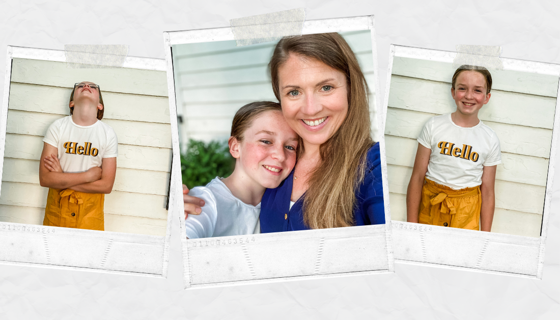 scrapbook graphic with three pictures: one of Marilee looking frustrated, one with Amy Julia and Marilee with their arms around each other and smiling, and one with Marilee smiling at the camera