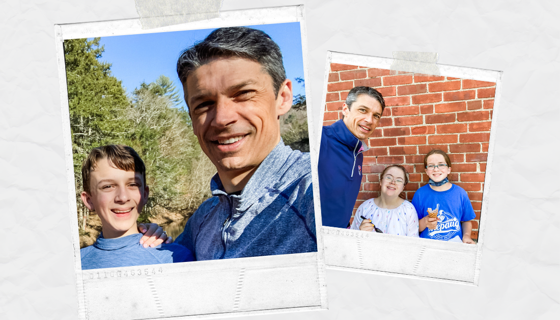 scrapbook graphic with Father's day pictures of Peter with William, Penny, and Marilee