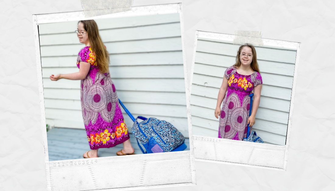 scrapbook graphic with two pictures of Penny, who has an intellectual disability, getting ready to leave for her high school, pulling her back pack behind her