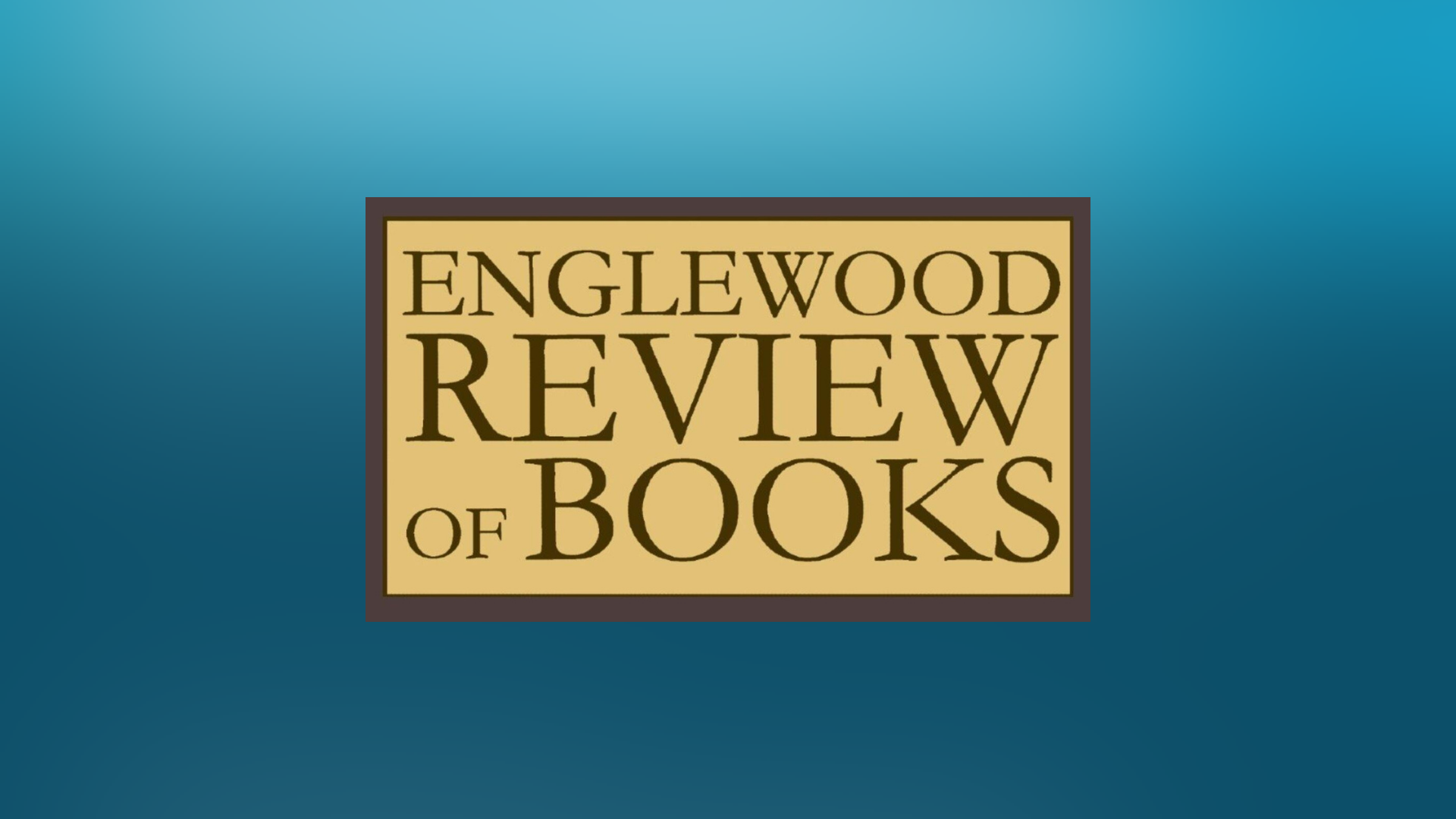 gradient blue graphic with the Englewood Review of Books logo
