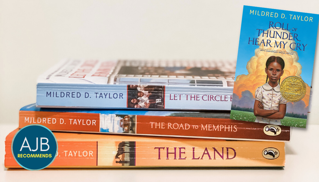 picture of three of Mildred Taylor's novels stacked on top of each other with overlay of another book