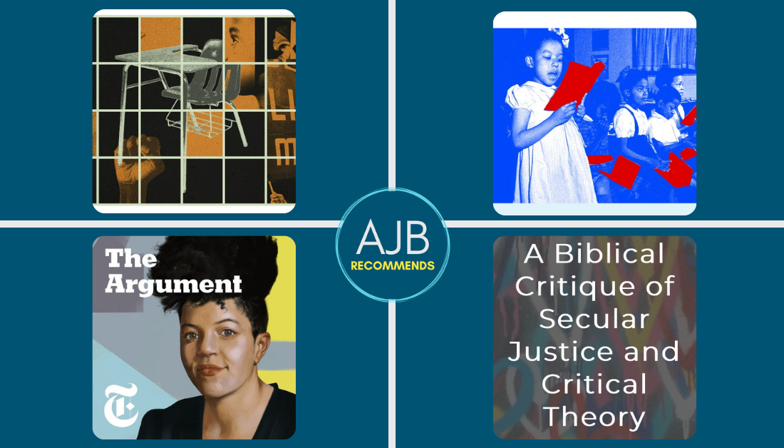 blue graphic with AJB Recommends logo and pictures of Critical Race Theory articles