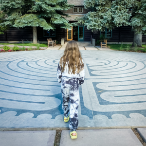 picture of Marilee walking through a labyrinth where we talked about prayer and life