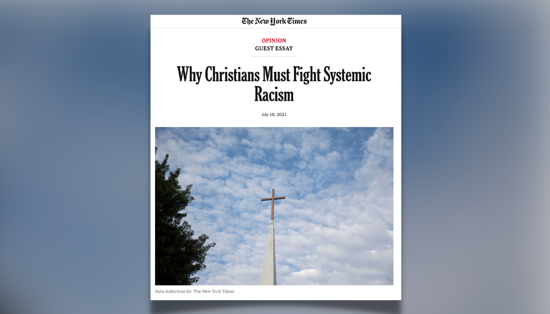 gradient blue graphic with screenshot of NYT article by Esau McCaulley entitled Why Christians Must Fight Systemic Racism