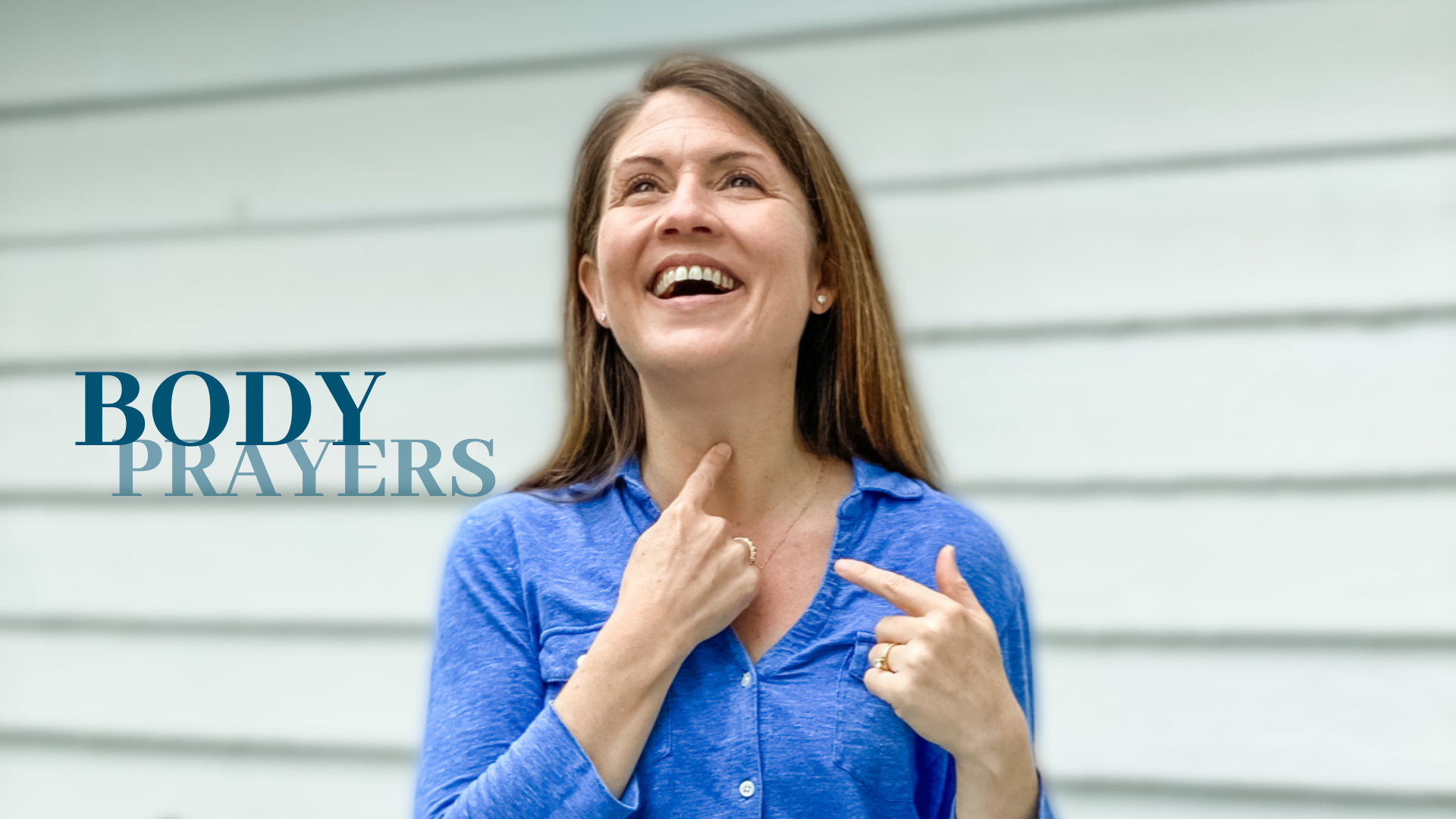 picture of Amy Julia pointing to her throat and laughing off camera with text overlay that says Body Prayers