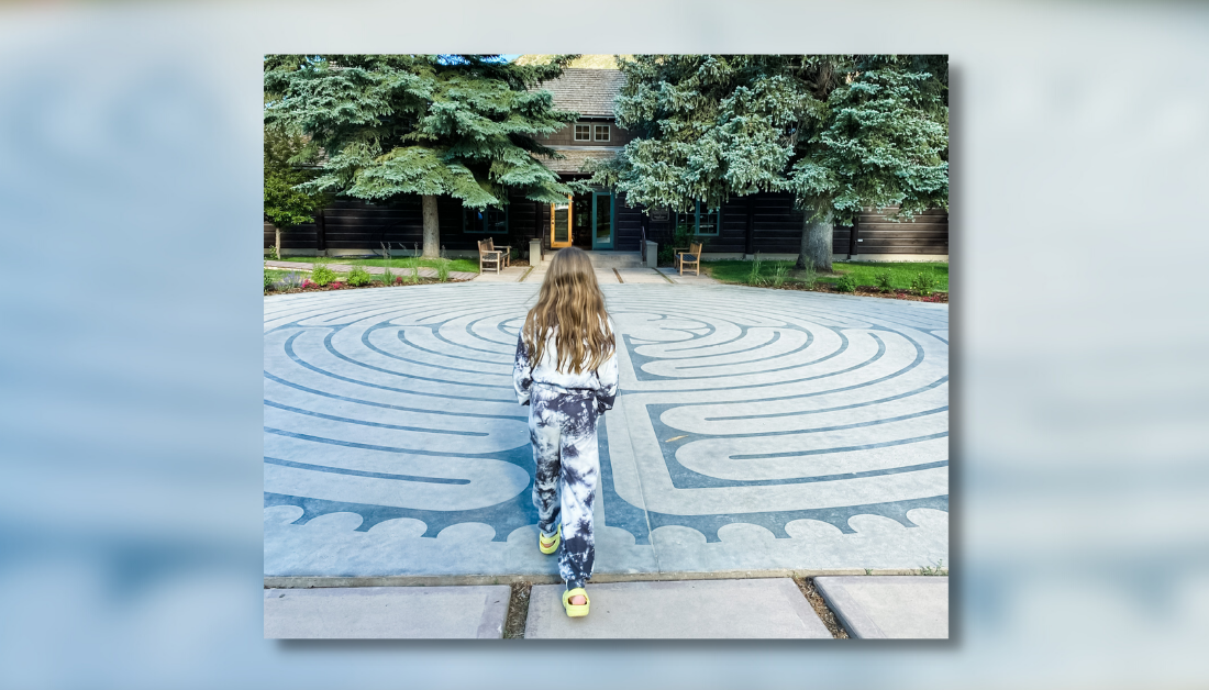 graphic with a blurred picture of a labyrinth and a picture of Marilee walking through a labyrinth