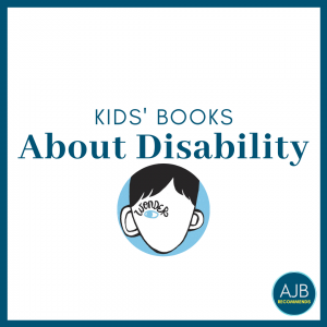 white graphic with blue border and blue text that says kids' books about disability with a circle picture frame of the cover of the book Wonder