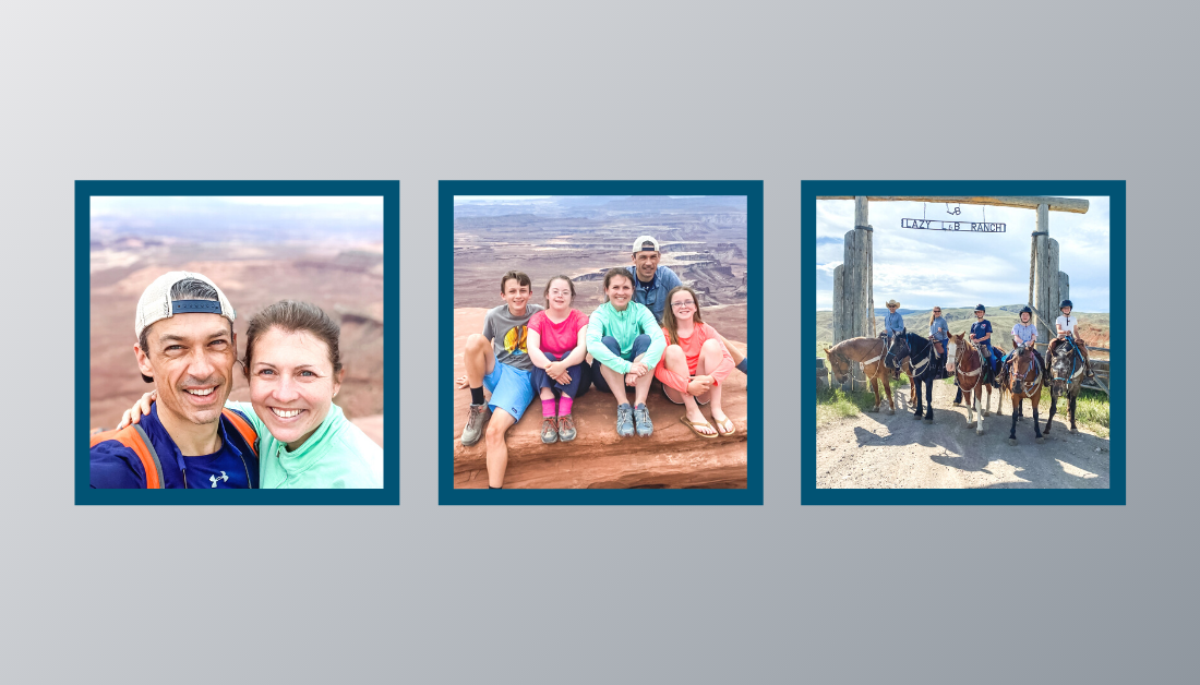 gradient gray graphic with three pictures of family on vacation out west