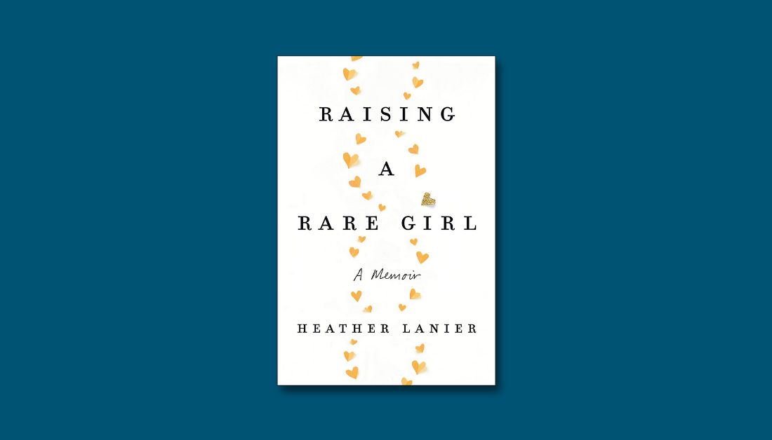 dark blue graphic with the cover of the book Raising a Rare Girl by Heather Lanier