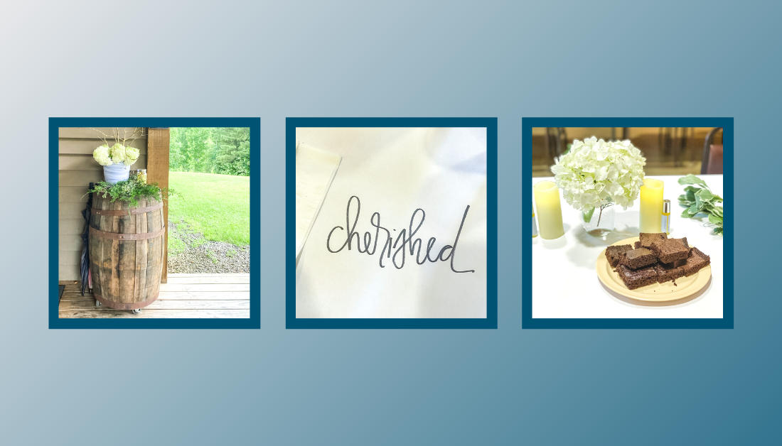 gradient blue graphic with pictures of hospitality elements at Hope Heals Camp