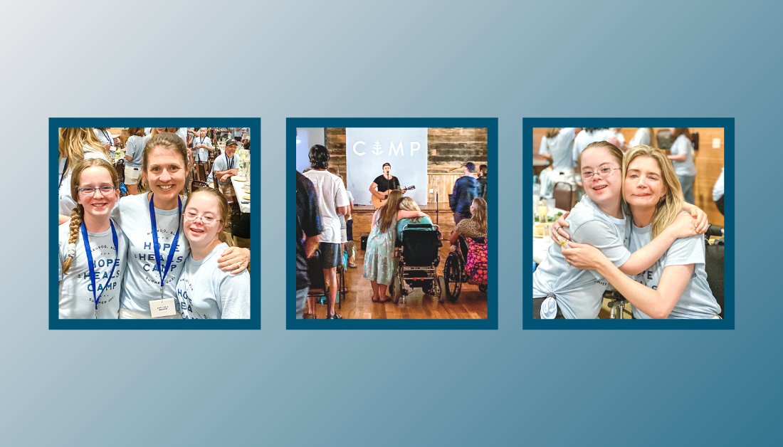 gradient blue graphic with pictures of Penny, Marilee, and Amy Julia volunteering at Hope Heals Camp