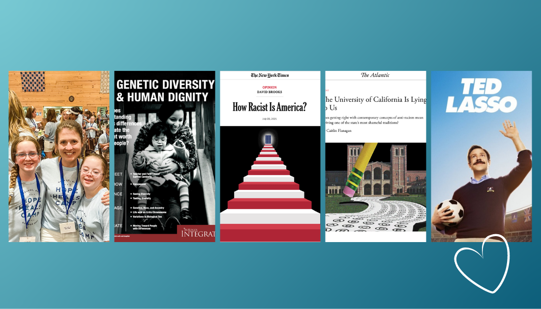 gradient blue graphic with pictures of some of Amy Julia's favorite things this week, including Hope Heals Camp, Genetic Diversity and Human Dignity curriculum from BioLogos, 2 essays, and Ted Lasso tv show