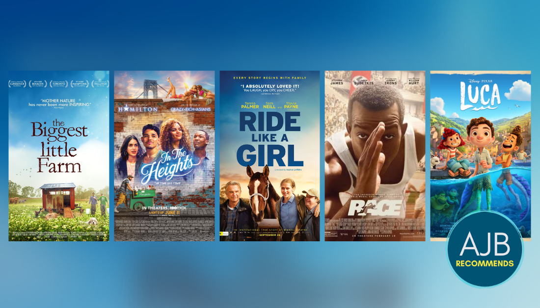 gradient blue graphic with the AJB Recommends logo and pictures of five movies for family movie night