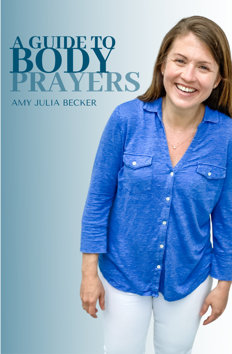 gradient blue gray background with a picture of Amy Julia smiling at the camera and text overlay that says A Guide to Body Prayers Amy Julia Becker