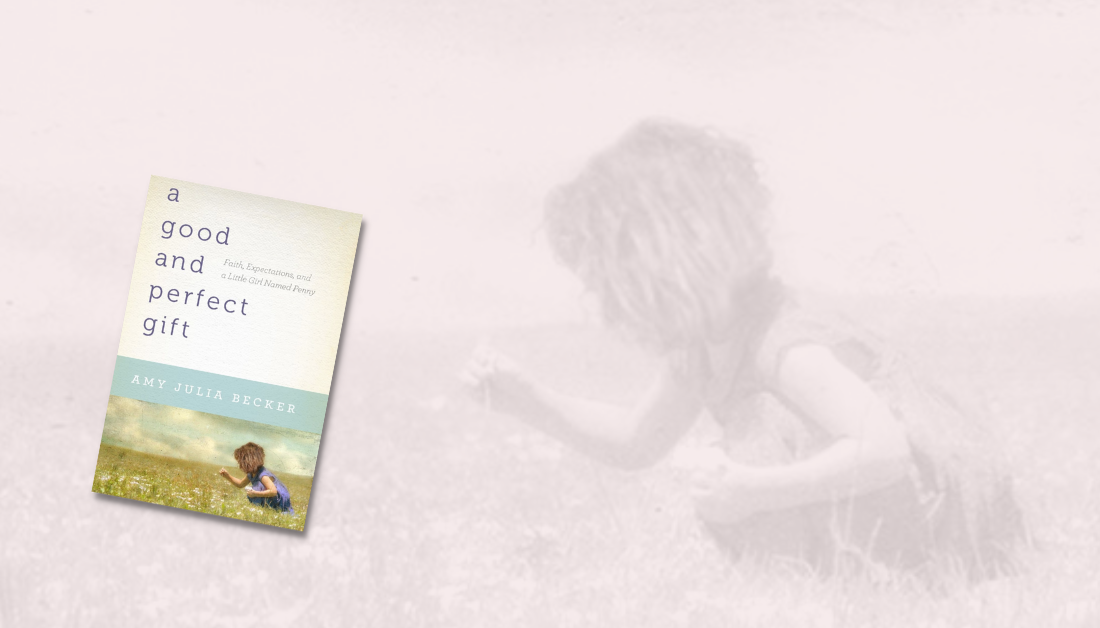 light pink graphic with a picture of a little girl picking flowers in the background with blue text from post caption and a picture of the cover of A Good and Perfect Gift