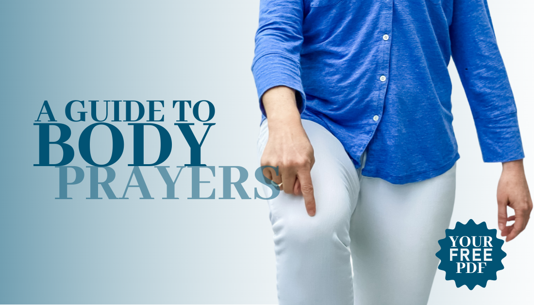 gradient blue graphic with text overlay that says A Guide to Body Prayers and a picture of Amy Julia pointing to her knee