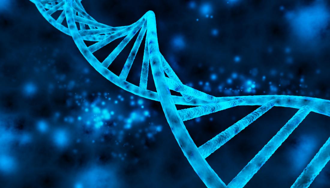 dark blue double helix of DNA