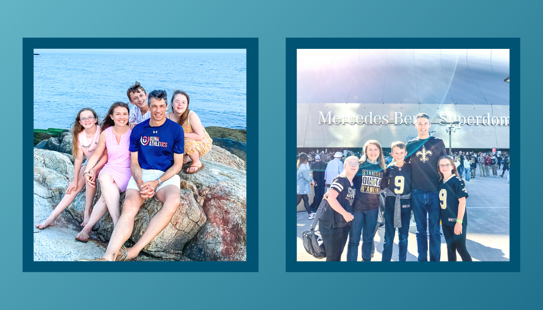 Gradient blue graphic with a picture of Amy Julia's family sitting on rocks with a water behind them and a picture of Amy Julia's family smiling at the camera and wearing Saints' football jerseys with the Mercedes Benz Superdome in the background. There is a dark blue border around each picture.
