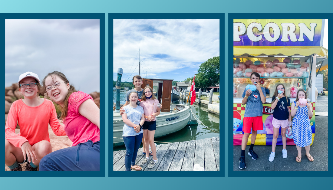 gradient blue graphic with three pictures that of William, Penny, and Marilee spending time together this summer