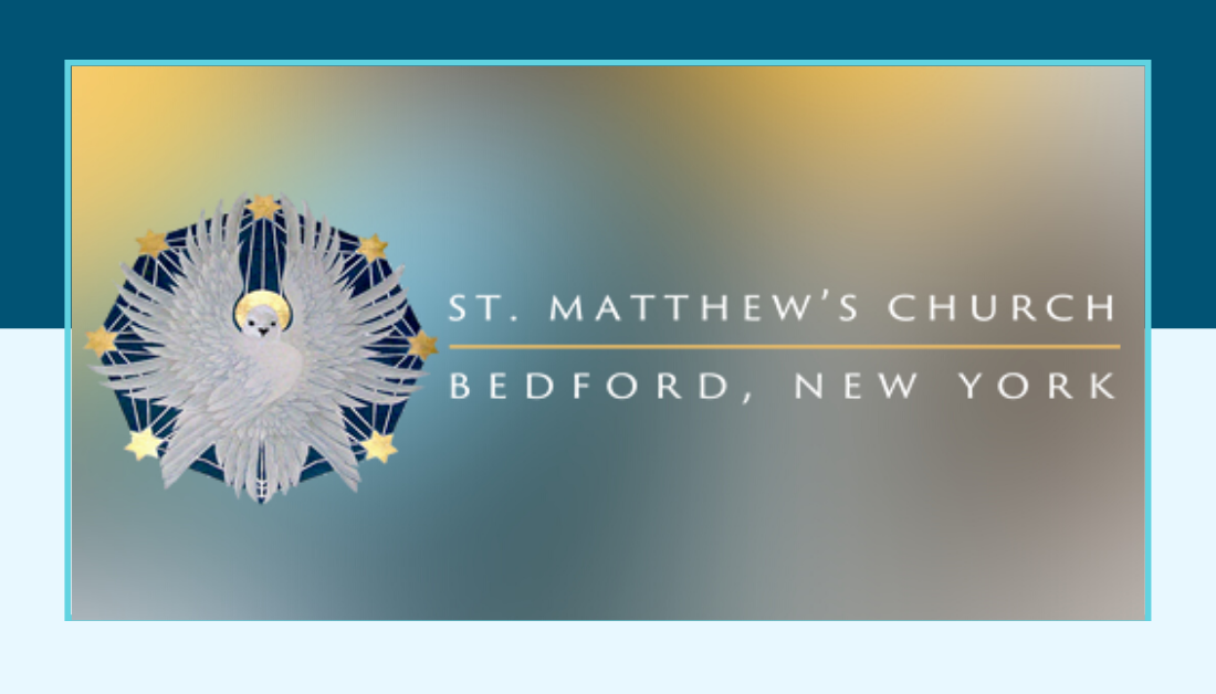dark blue and light blue graphic with the St Matthew Episcopal Church logo
