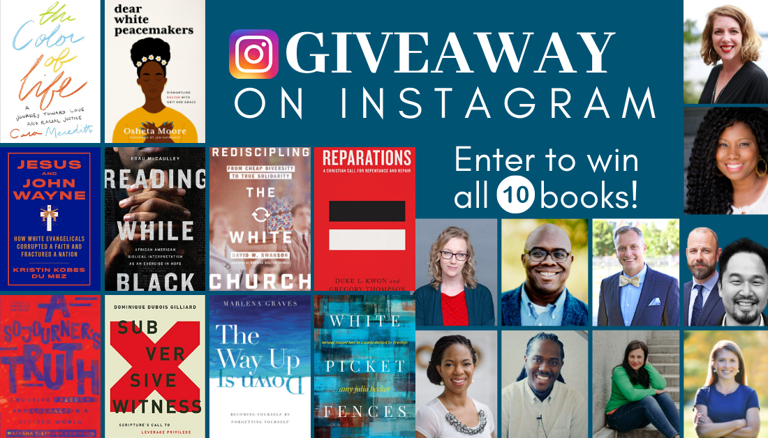 blue graphic with pictures of book covers and authors who are included in the 10-book giveaway