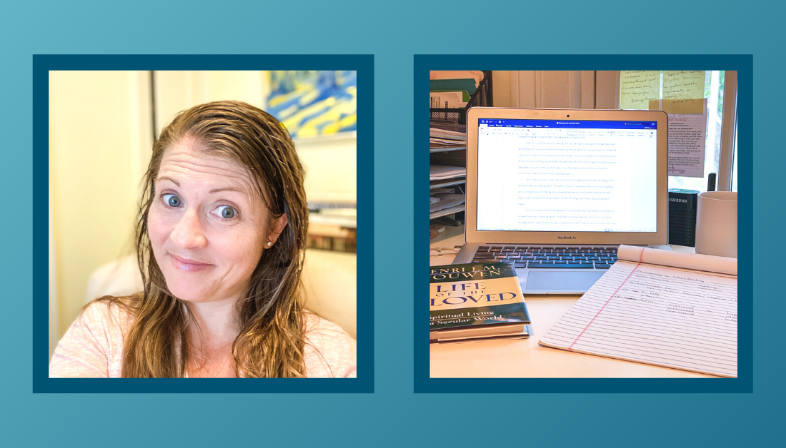 gradient blue graphic with a selfie where Amy Julia is smiling at the camera with a wry smile and a picture of a computer, book, and notebook on a desk