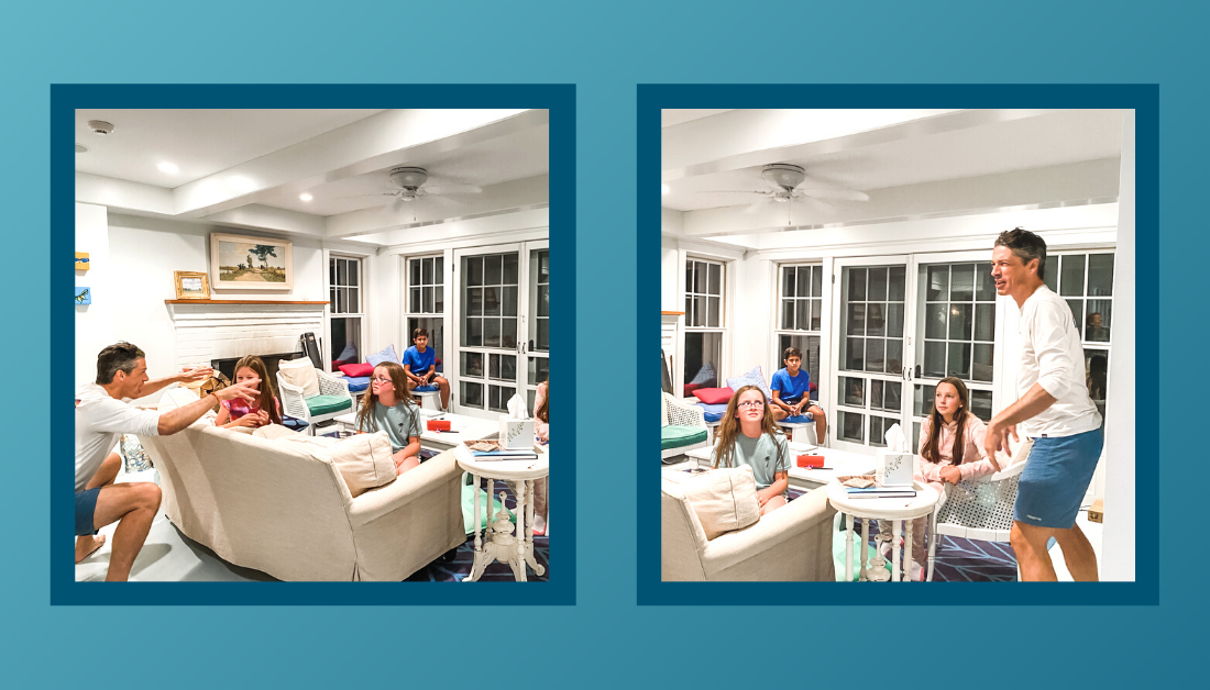 gradient blue graphic with pictures of family and friends sitting in the living room playing the Name Game