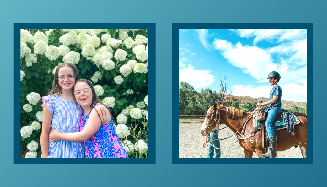 gradient blue graphic with a picture of Marilee and Penny smiling at the camera and a picture of a side profile of William riding a horse
