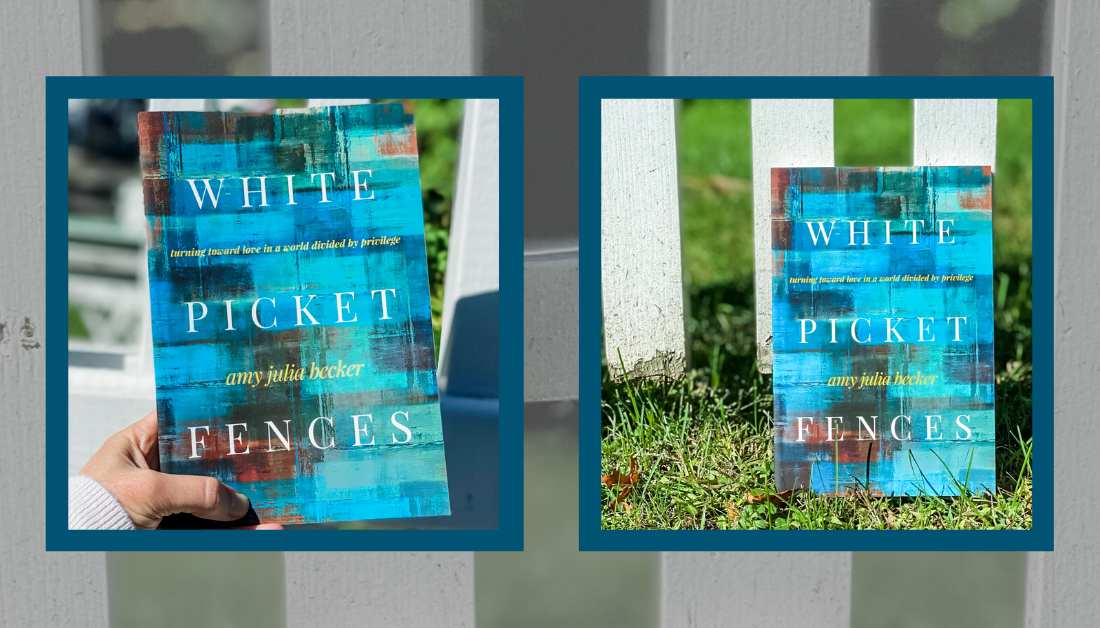 white picket fence with pictures of the book White Picket Fences on top